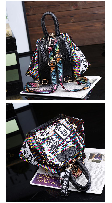 backpack women Fashion Women Bling Shiny Sequins Sparkling Shoulder Bags Larger Capacity Drawstring Bag backpack 91