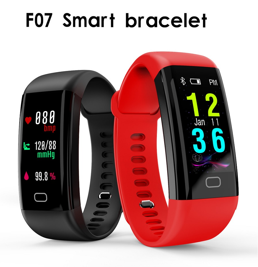 F07 OLED Color Screen Bluetooth Smart Band Wristband IP68 Waterproof Heart Rate Monitor Smartband for Android iOS