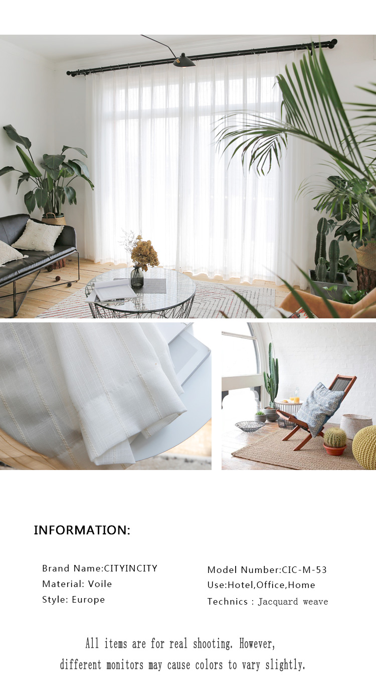 _02 White Tulle Curtains For Livingroom Striped Voile