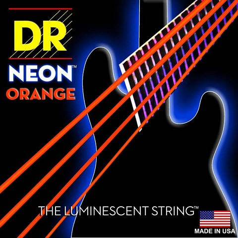 DR K3 Hi-def Neon Orange Luminescent Bass Guitar Strings, Light 40-100 or Medium 45-105 or 5-strings 45-125 dr k3 hi def neon green luminescent bass guitar strings light 40 100 or medium 45 105 or 5 strings 45 125