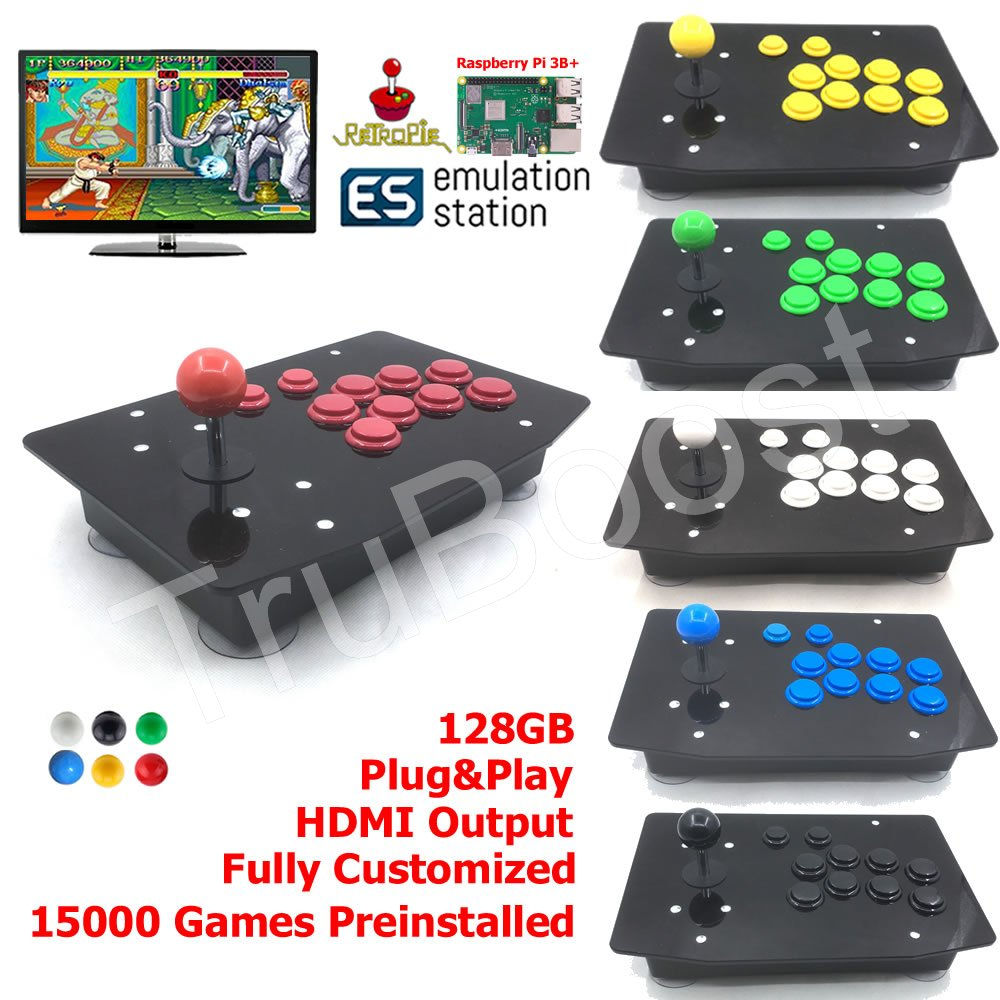 Arcade Fighting Stick Retro Game Console All In One 128G Raspberry Pi 3B 15000 Games