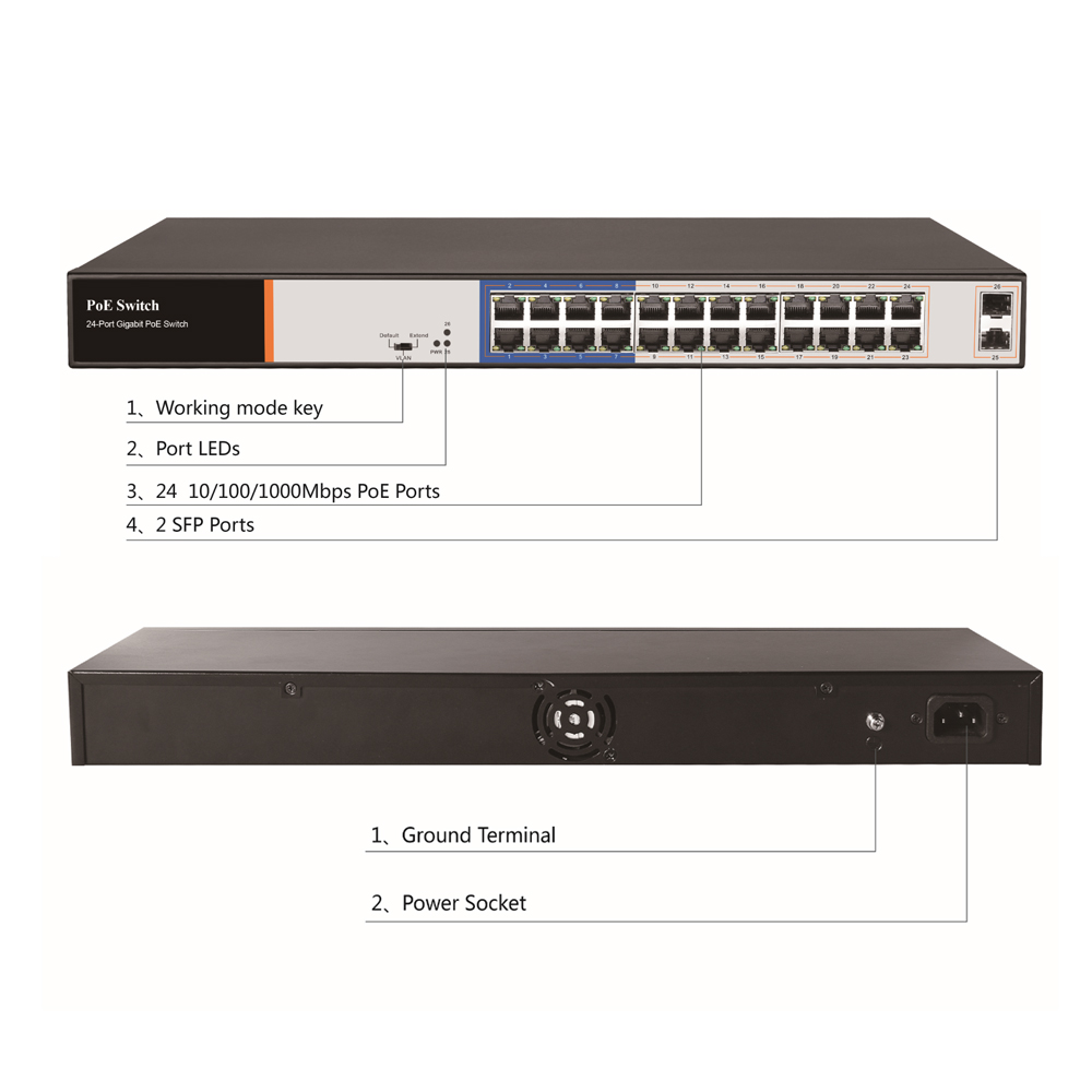 Image 2 - G.Craftsman Full Gigabit 24 Port Poe Switch Support IEEE802.3af/at CCTV 5MP 8MP IP Camera Wireless AP 10/100/1000Mbps 2 SFP CE-in Transmission & Cables from Security & Protection