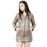 WHZHM Plus Size 7XL Winter Parkas Women Stand Collar Thin Outerwear Slim Hooded 90% White Duck Down Pockets 4XL 5XL Long Coat