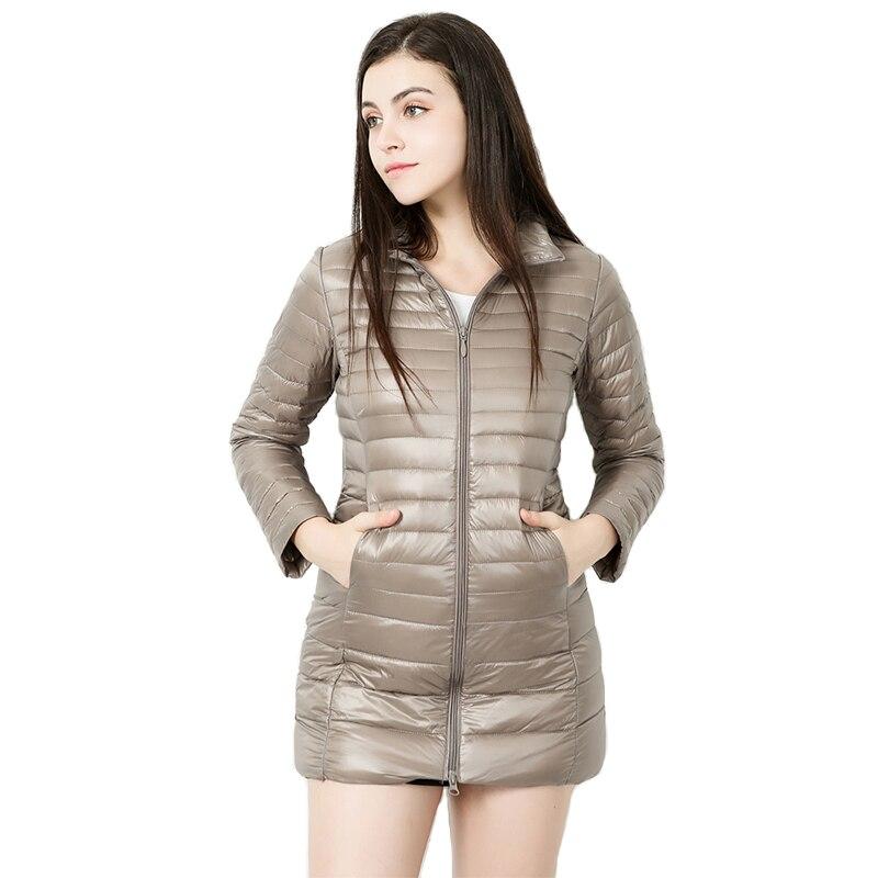 WHZHM Plus Taille 7XL D'hiver Parkas Femmes Stand Col Mince Survêtement Mince À Capuche 90% Duvet de Canard Blanc Poches 4XL 5XL long Manteau