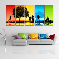 5PCS Colored Abstract Landscape Painting Home Interior Combination Wall Decor Canvas Painting Art Pictures For Sitting