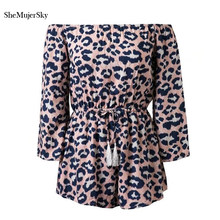 SheMujerSky Women Leopard Playsuits Sexy Off The Shoulder Jumpsuit Bandage Long Sleeve Rompers(China)