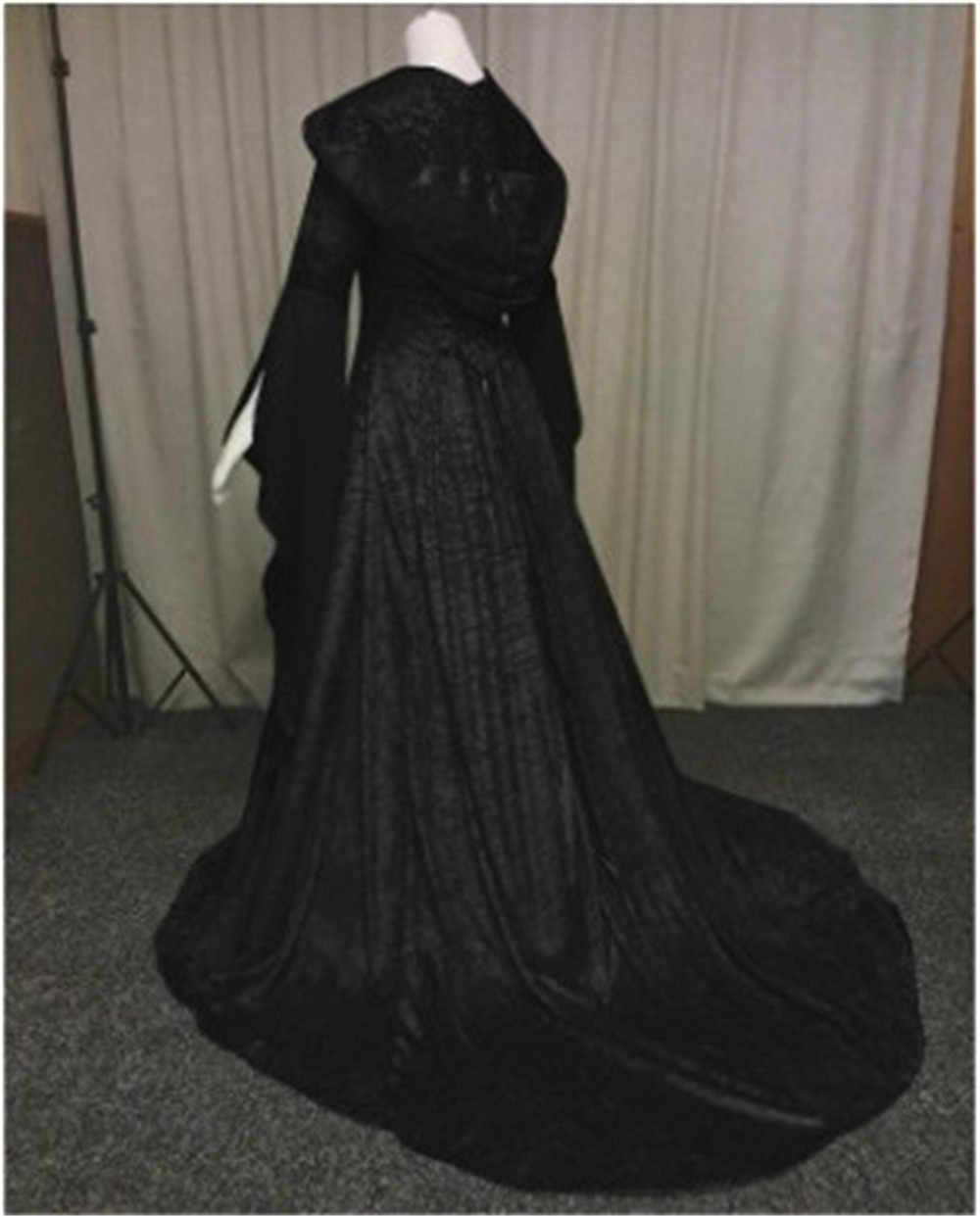 Pagan Wedding Dresses.New Women Vintage Medieval Pagan Wedding Hooded Dress Romantic Fantasy Gown Floor Length Renaissance Dress Cosplay Retro Witch