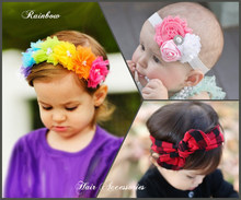 3pcs/set Colourful Girls Hair Accessories Rainbow Flower Hair Bands Trellis texture Headband Kids Newborn Hair Accessories W280(China)