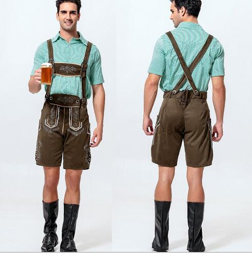 2016 Men S Oktoberfest Cotton Cashmere Leather Lederhosen Costume For Man Party Cosplay Waiter Farmer Costumes