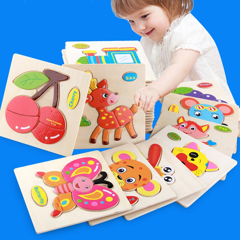 New Cartoon Animal Wooden Board Pattern Puzzle Gifts For Children Toy Board Develop Intelligence Beautiful Kids Toys