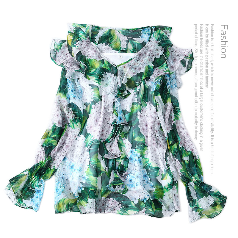 Women fashion elegant silk blouse floral hydrangea patterns print chiffon tops v-neck cute ruffles new 2018 spring summer