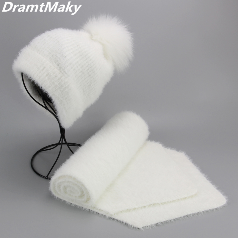 Artificial Mink Cashmere Women Child Winter Hat Scarf Set Real Fox Fur Pom Poms Ball Cap Keep Warm Beanies Skullies Beanie Hat
