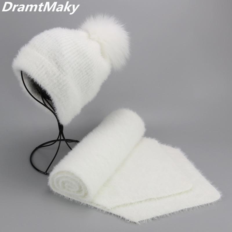Artificial Mink Cashmere Women Child Winter Hat Scarf Set Real Fox Fur Pom Poms Ball Cap Keep Warm Beanies Skullies Beanie Hat