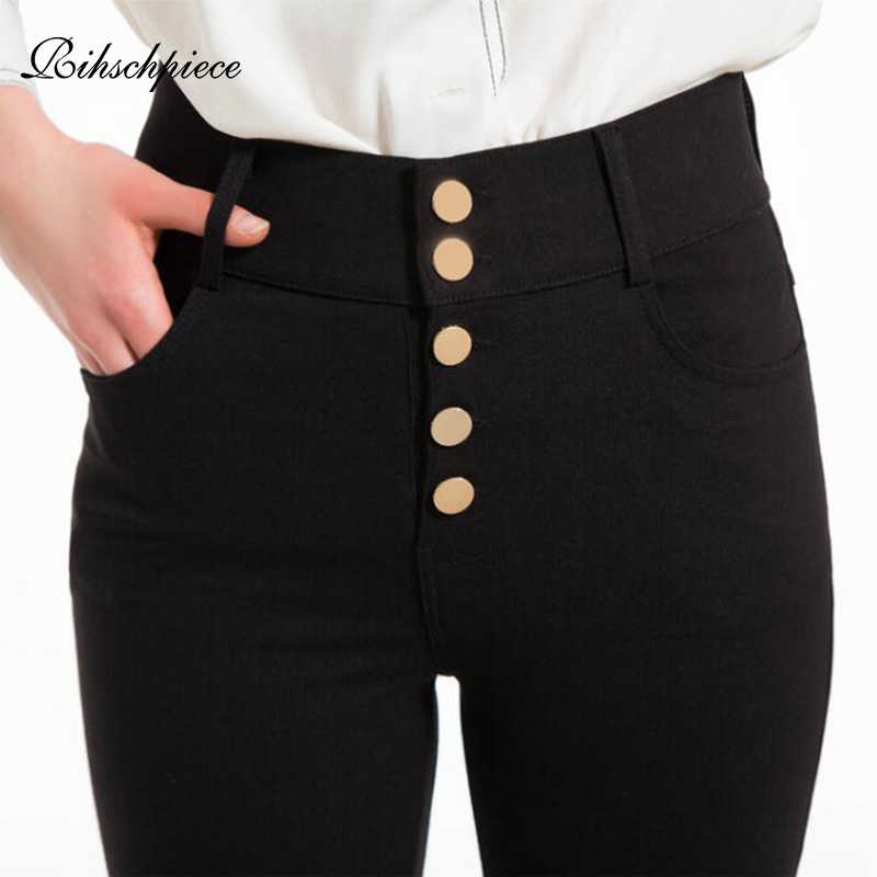 Rihschpiece Plus Size 6XL Leggings Women High Waist  Pants Black Punk Jeggings Push Up Legging Slim Pocket Trousers RZF1608