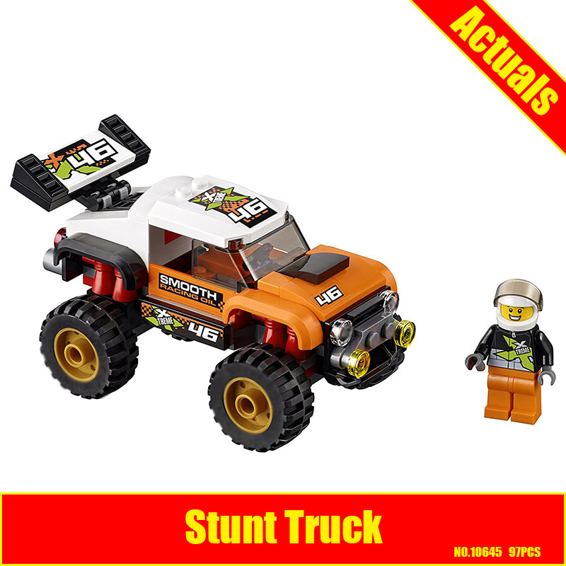 Bela 10645 97Pcs City Figures Stunt Truck Model Building Kits Blocks Bricks Toys Vehicles For Children Compatible 60146 10646 160pcs city figures fishing boat model building kits blocks diy bricks toys for children gift compatible 60147