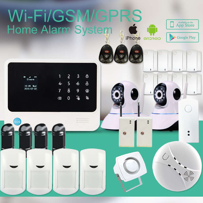 433mhz APP controlled security GSM WIFI alarm system wireless security smart home alarm with IP camera/IR beam/smoke sensor wireless smoke fire detector for wireless for touch keypad panel wifi gsm home security burglar voice alarm system