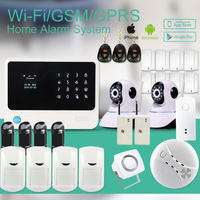 433mhz APP controlled security GSM WIFI alarm system wireless security smart home alarm with IP camera/IR beam/smoke sensor