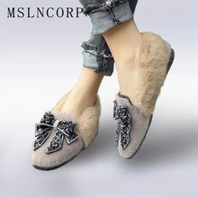Plus Size 34-44 Spring Autumn Loafers shoes woman rhinestone bowtie flats slip on real rabbit fur snow female casual