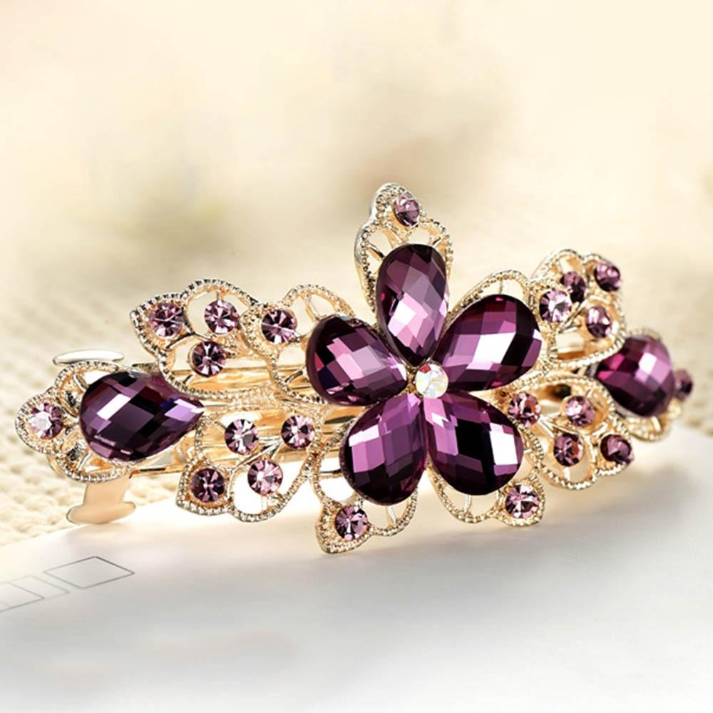 Fashion Jewelry Crystal Hair Clips Flower Rhinestone Metal Hairpin Clip Barrette кольцо коюз топаз кольцо т143015420