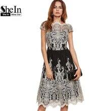 SheIn Бальные Платья Цвет Блока Черный Шампанское Контраст Fit И Flare Вышитые Cap Рукавом Длиной До Колен Mesh Elegant Dress