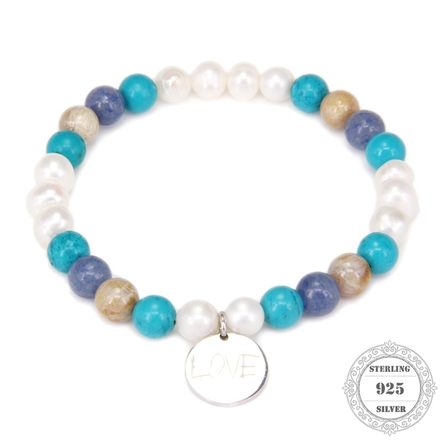 HEMISTON Thomas Freshwater Pearl Nature Stone Bracelet with 925 Sterling Silver Love Charm Women Fine Jewelry Gift TS 001