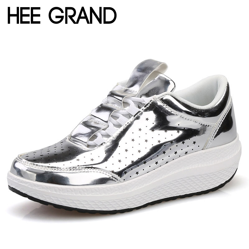 HEE GRAND Silver Creepers Lace-Up Platform Loafers Casual Shoes Woman Patent PU Leather Slip On Flats Size 35-40 XWD5548 hee grand 2017 creepers summer platform gladiator sandals casual shoes woman slip on flats fashion silver women shoes xwz4074