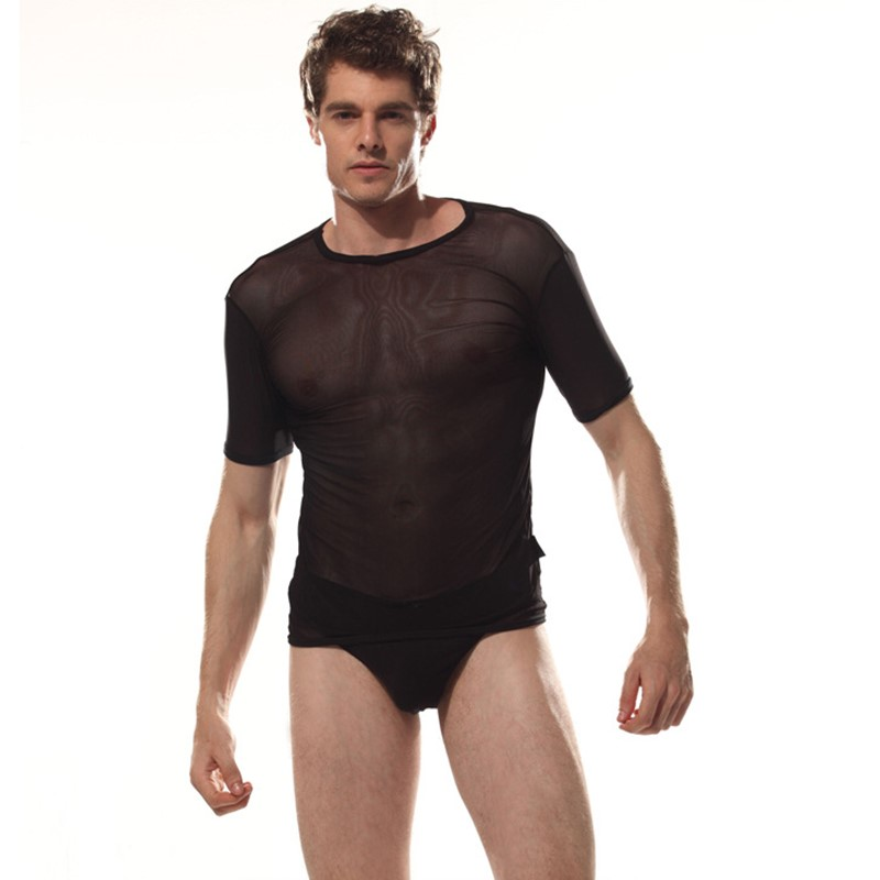 Baodilang Ice Silk <font><b>Sexy</b></font> <font><b>Men</b></font> See Through T-<font><b>shirts</b></font> Breathable Pajamas Cool <font><b>Men</b></font> Night Tight <font><b>Shirts</b></font> <font><b>Gay</b></font> Wear <font><b>Men's</b></font> T <font><b>Shirts</b></font> image