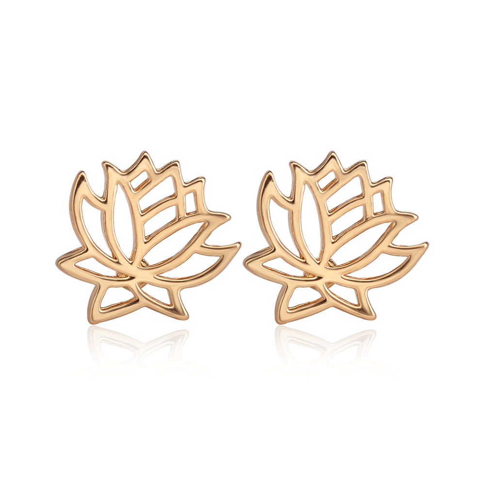 Fashion Stud Earrings Shiny Elegant Lotus Flower Earrings Party