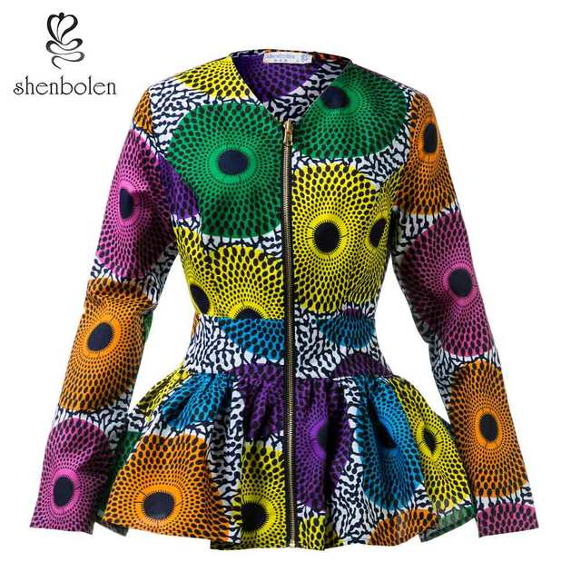2018 Autumn African Clothes For Women Long Sleeve High Waist Ankara