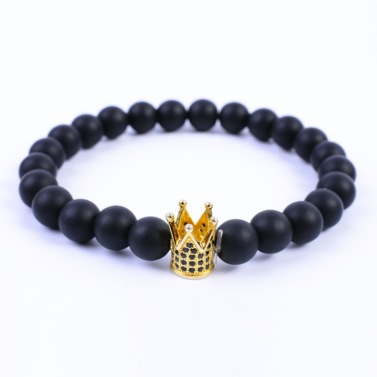 Fashion Jewelry Jewelry Natural Stone Beads Hand-knitted Accessories Millstone Blackstone and Zircon Crown Charm Bracelet
