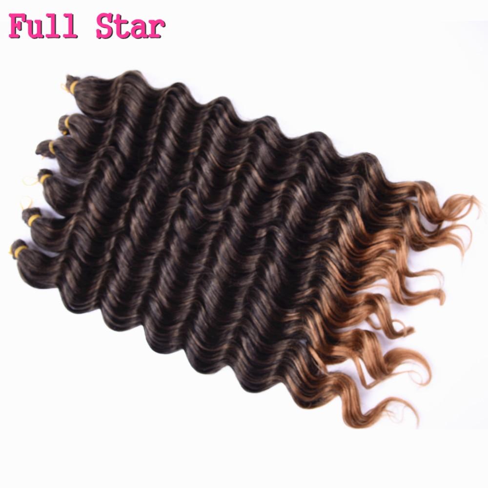 Ombre Deep Wave Synthetic Hair 1-6 Piece 20'' 80g  Full Star Hair Bundles Crochet Braids Hair Extension Black Brown Hair Style