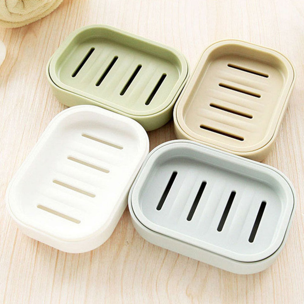 1PCS Plastic Soap Dish Plastic Bathroom Creative Double draining soap holder Non-slip soap box