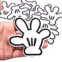 Лучшие продажи 10 шт. белые Микки ручной аппликации с вышивкой Железный на одежде аппликация Одежда заплатка DIY наклейки значок