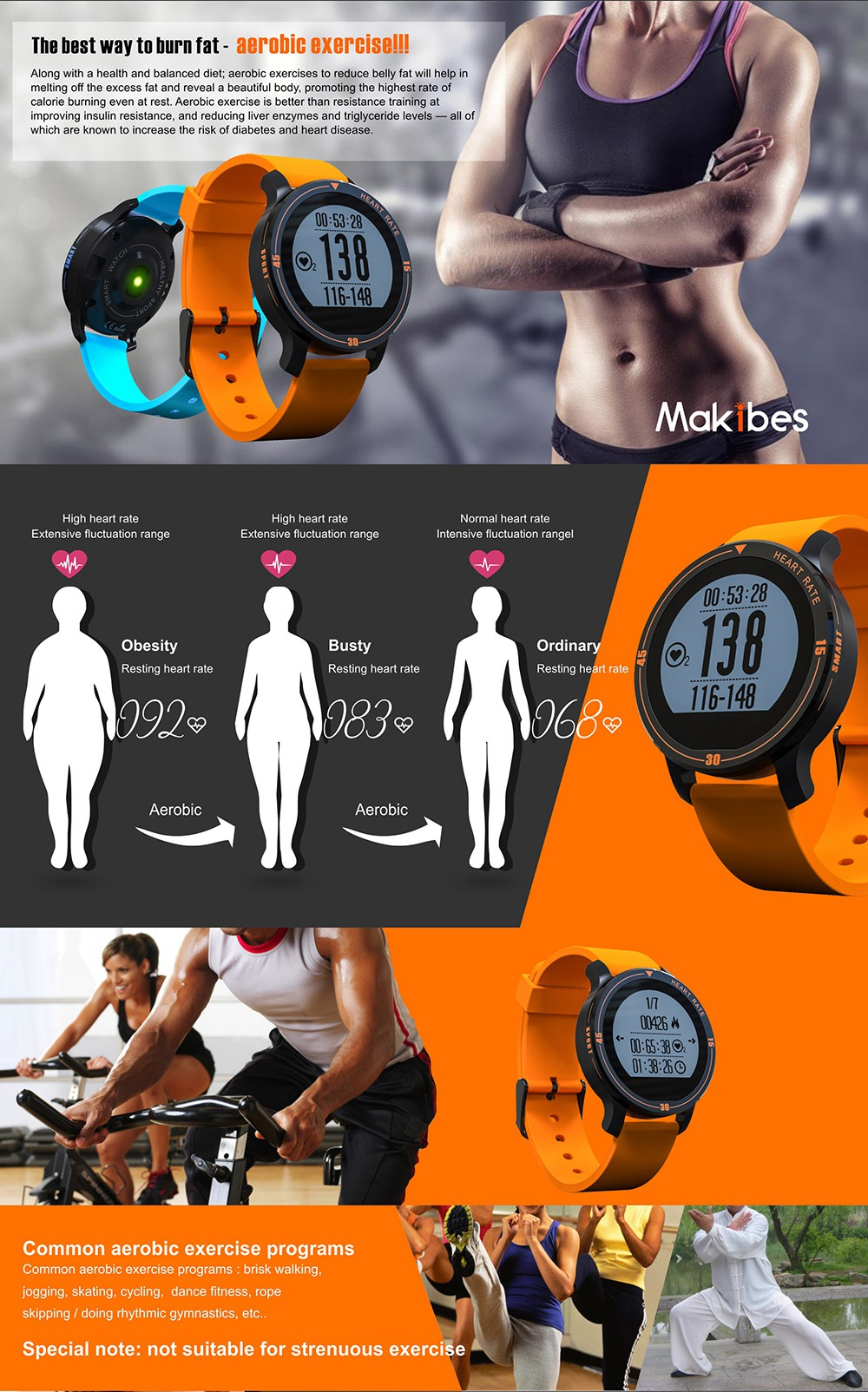 MAKIBES AEROBIC A1 SMART SPORTS WATCH BLUETOOTH DYNAMIC HEART RATE MONITOR SMARTWATCH S200 231407 16