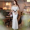 Original 2017 marca a longo vestidos de festa branco plus size elegante magro maxi dress vestidos de fiesta mulheres estilo verão atacado