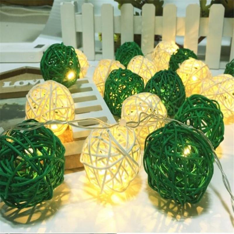 3m 20LED Battery String Lights White Green Rattan Ball Shape Lamp Cotton Ball Light Wedding Birthday LED Christmas Fairy Lights