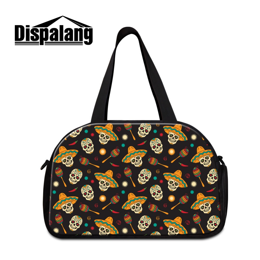 Dispalang Shoulder medium sized travel bags for Women Skull best ladies tote duffle bag girls sporty bags day bags for travel