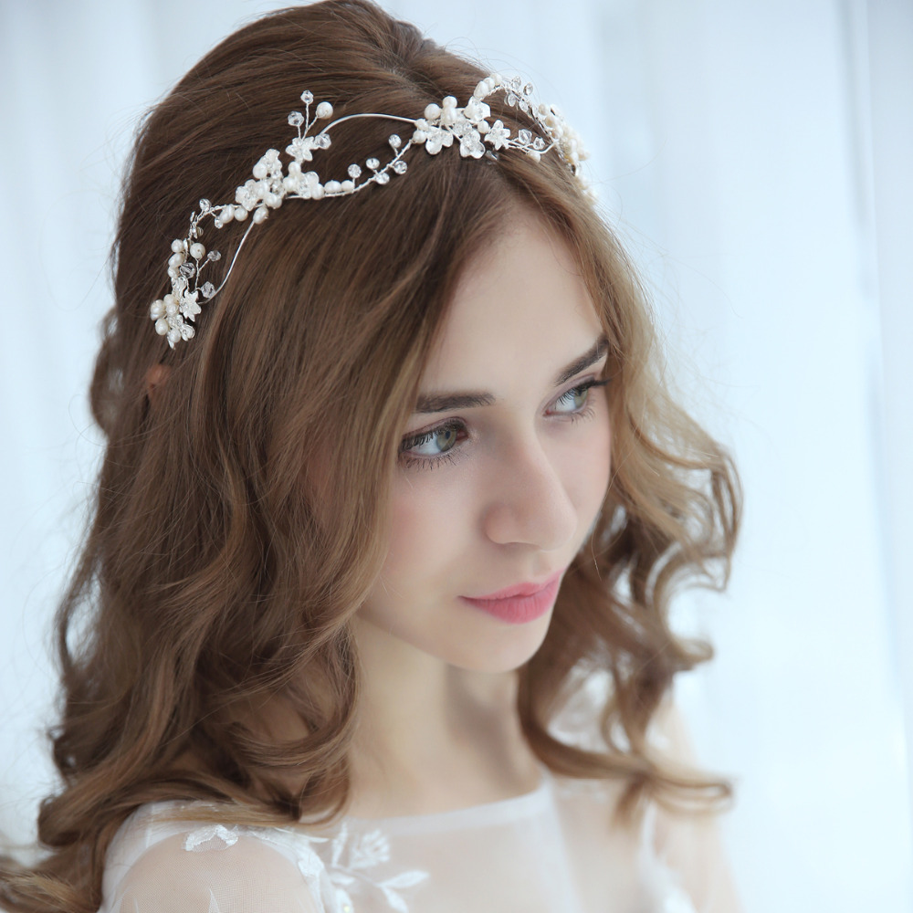 Wedding Headpiece For 2018: Crystal And Pearls Bridal Headband Crown Antique Silver