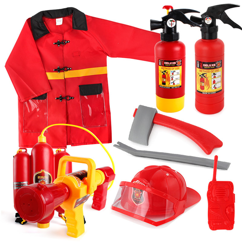 Fireman Set Firefighter Accessories Fireman Helmet Costuem Water Gun Hydrant Fire Extinguisher Toy Fancy Dress Party Uniforms