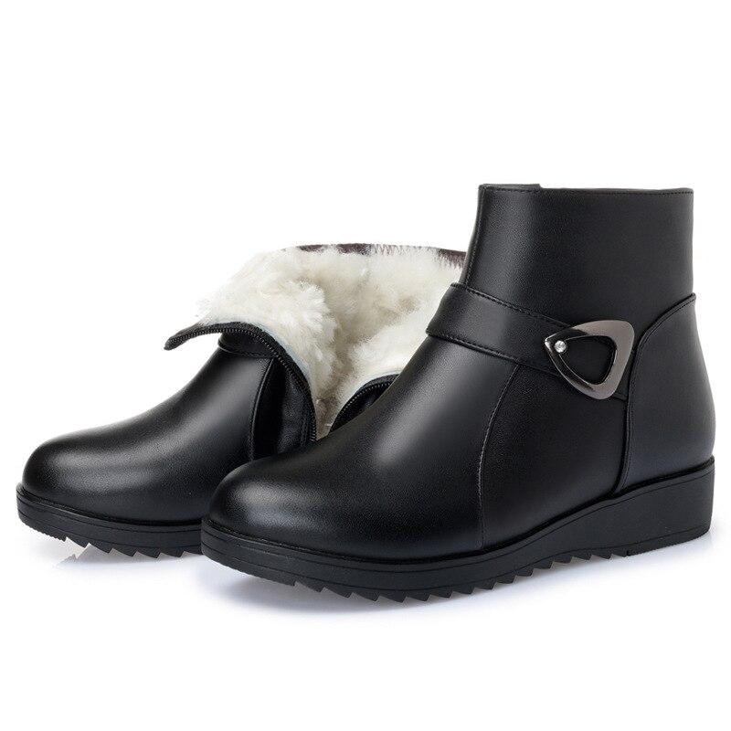 d73ced43d56 Y Wool Cuero Una Nuevo Metal 2018 Moda Decoración De Mujer Botas Las Lana  Velvet Inside black Cálido Black Vaca Invierno Zapatos Inside Cómodo Nieve  ...