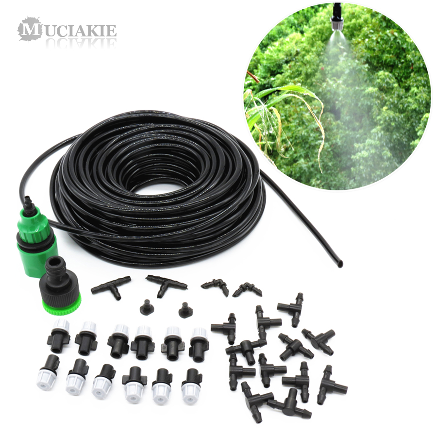 1 Kit Fog Watering Irrigation System Portable Misting Cooling Automatic Water Nozzle 10M PVC Hose Spray Head 4/7mm Tee Connecter 4