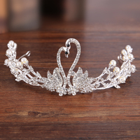 Hot Swan Design Silver Crystal Simulated Pearl Bride Tiara Crown For Wedding Hair Jewelry Accessories Princess