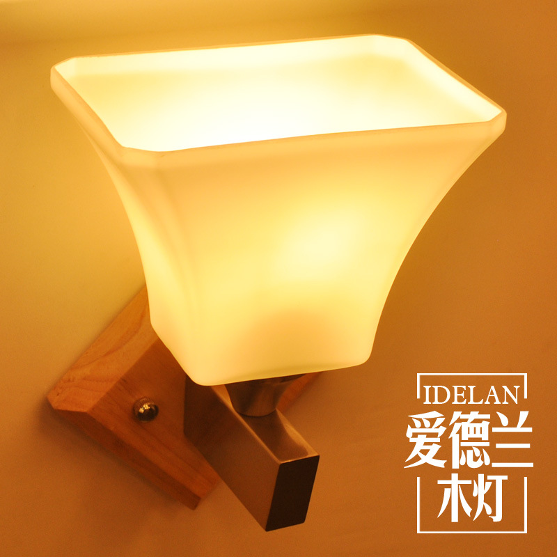North American bedroom bedside wall lamp modern Chinese living room aisle balcony solid wood wall lamp|Wall Lamps| |  - title=