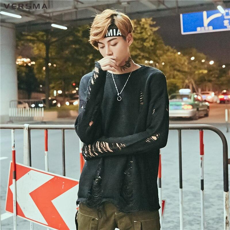 VERSMA 2017 Hip Hop déchiré lâche femmes hommes pull tricoté pull été coréen Harajuku mince à manches courtes Couple pull mâle