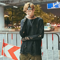 VERSMA 2017 Hip Hop Ripped Loose Women Men Knitted Sweater Pullover Summer Korean Harajuku Thin Short Sleeve Couple Sweater Male
