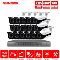 16CH 4K POE NVR 5MP 3MP kit PoE IP Camera P2P Cloud Onvif FTP CCTV System IR Outdoor Night Vision Video Surveillance Kit
