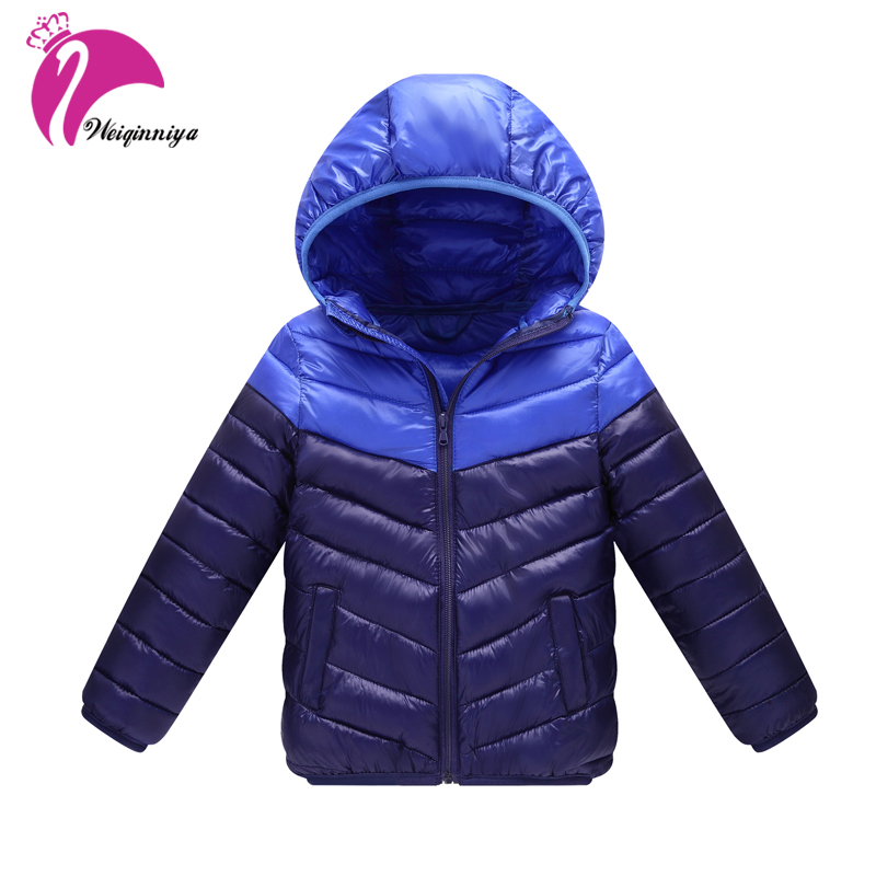 Children Boys & Girls Outwear Down Coat New 2017 Winter Patchwork Hooded Cotton Parka Warm Kids Clothes Fashion Unisex Clothing 2016 down jackets for children winter fashion girls boys hooded coat children s jacket outwear kids casual cartoon outwear 16a12