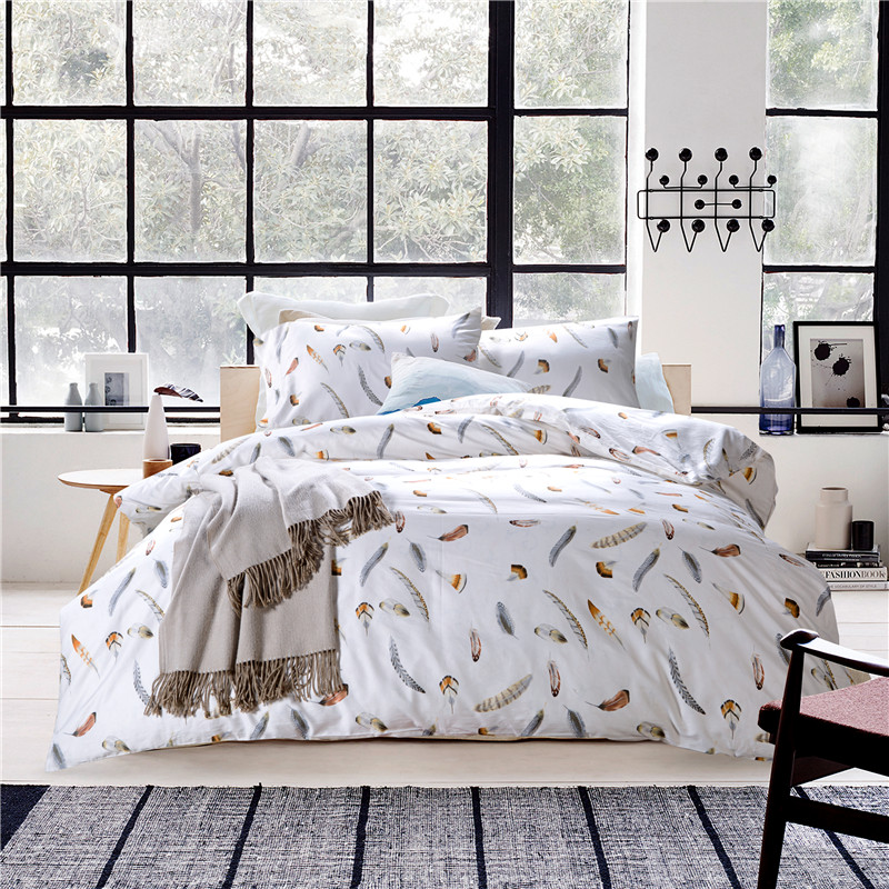 Superior Il 60s Egyptian Cotton Feather Bedding Set Duvet Cover Bed Sheet Pillow  Case King Queen Size Bed Linen Set In Bedding Sets From Home U0026 Garden On ...