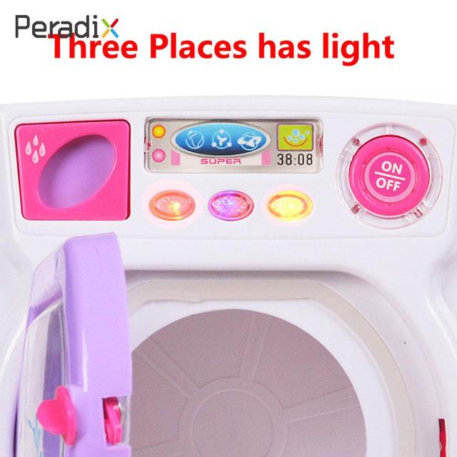 Electric Simulation Washing Machine Washer Toy Washing Machine Toy Filling Water Household Electrical Appliances Rotate Pink 1