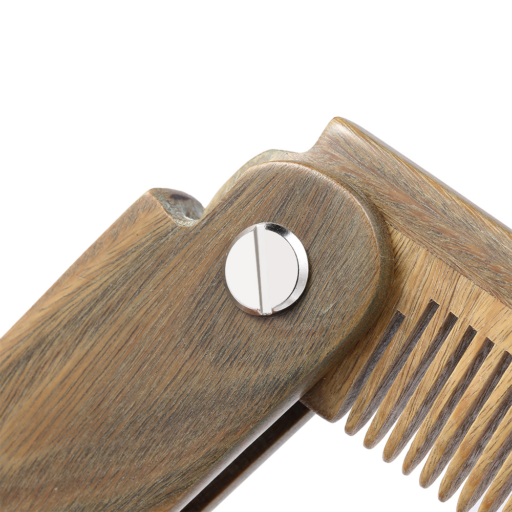 Mini Pocket Wooden Folding Beard Comb Men's Beard Hair Brush Anti-static Mustache Combs Male Facial Massage Hair Styling Tool 2